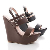 Sam19 By Blossom, Strappy Studded Sling back Platform Wedge Sandals