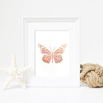 Butterfly Print, Geometric Filled Butterfly, Butterfly Art, Rose Gold Foil, Butterfly Wall Art, Butterfly Poster, Rose Gold Nursery Print