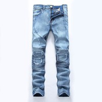 Fashionable Blue Cotton Men's Jeans Jeans Of The Regular Mens Luxury Stone Washes Jeans Fashion Brand Of The Men's Jeans