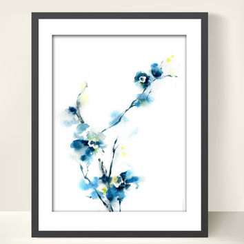Watercolor Art Print, Blue Blossoms, Watercolor Painting Art, Floral, Modern Art