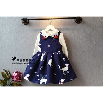 Princess Dress Girls Clothes 2016 Brand Baby Girls Dress Character Pattern Kids Dresses For Girls Princess Costume Dresses