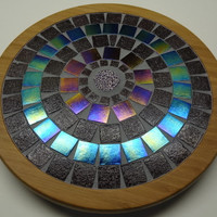 Mosaic lazy susan 10 inch diameter Iridescent Purple and Dark Purple