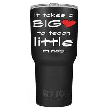 RTIC It Takes a Big Heart to Teach on Black 30 oz Tumbler Cup