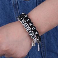 Couple Bracelets Women Men Letter  Princess Prince  Rope Chain Charm