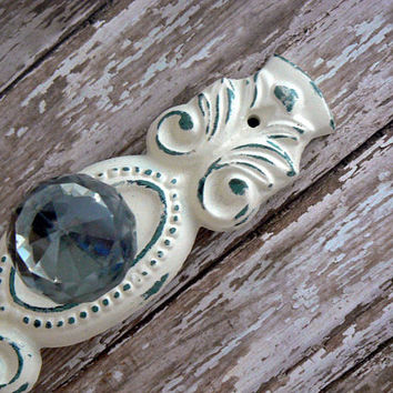 Cabinet Drawer Pull Shabby Style Chic OFF White Ornate Cast Iron Backplate acrylic Knob French Paris Do It Youself DIY