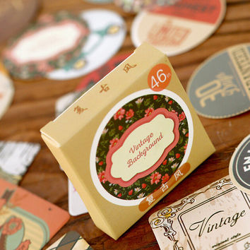 Vintage Style Background Label Stickers Decorative Stationery Stickers Scrapbooking DIY Stickers Diary Album Stick Lable