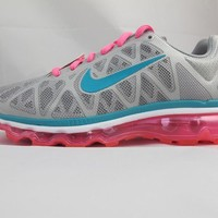 NEW JUNIORS NIKE AIR MAX 2011 431875-003 PINK/ SILVER/ BLUE