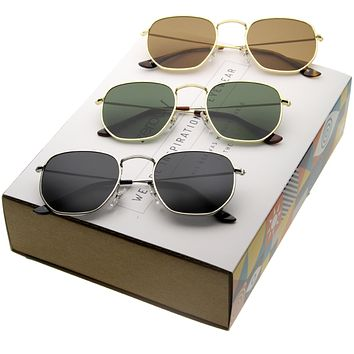 Retro Modern Hexagon Shape Metal Flat Lens Sunglasses [Promo Box]