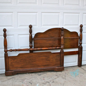 Double Bed/ Vintage Headboard/ Foot Board/ Custom Paint to Order/ Pick Your Color/ Shabby Chic