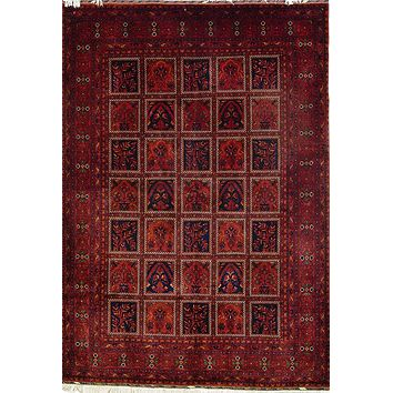 Oriental Khan Mohammadi Turkman Persian Tribal Rug, Red/Blue