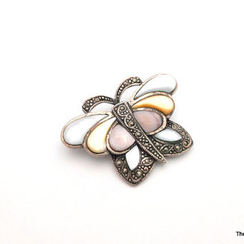 Vintage 925 Sterling silver butterfly brooch mother of pearl and Marcasite