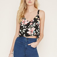 Floral Lace-Up Crop Top