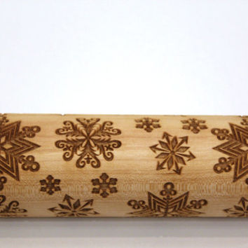 Snowflake Engraved Rolling Pin, Embossing Rolling Ping, Christmas Gift, Christmas Pattern Roller, Embossed Dough Roller, Dough Roller