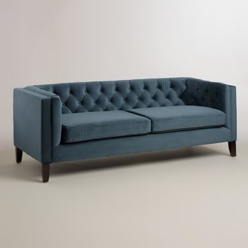 Midnight Blue Kendall Velvet Sofa