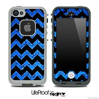 Blue Rain & Black Chevron Pattern Skin for the iPhone 5 or 4/4s LifeProof Case