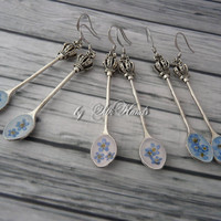 Resin Earrings With Real  Forget Me Nots - shabby chic earrings - bohemian - gift minimalist earrings- Natural Dry - rustic - Spoon Earrings