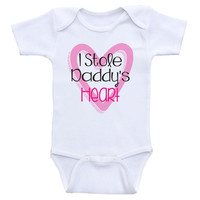"Cute One-Piece Baby Girl Shirts ""I Stole Daddy's Heart"" Baby Girl Onesuits"