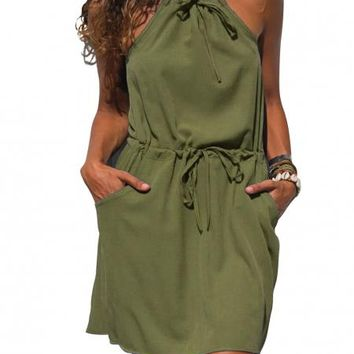 Army Green Summer Suspender Dress