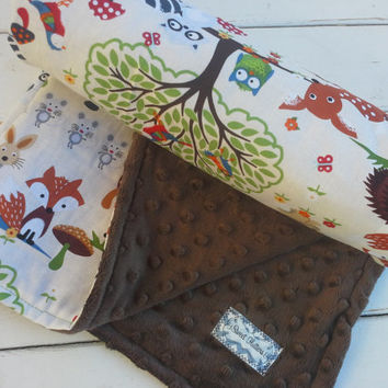 baby blanket-Personalized boys brown minky baby woodland creatures print-customized baby blanket with applique name - boy baby shower gift