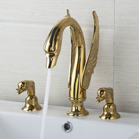 Hello Luxury Golden Swan Waterfall 3 Pieces 2 Lever 97145 Deck Shower Bathroom Basin Sink Bathtub Torneira Tap Mixer Faucet