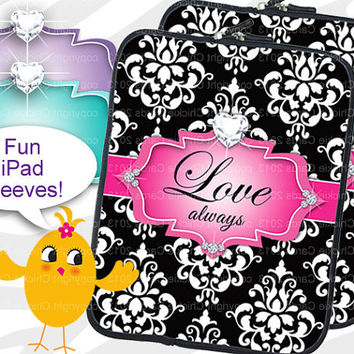 iPad 3 Sleeve Modern Damask Jewelry Love