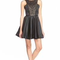 a. drea Illusion Lace Satin Skater Dress | Nordstrom