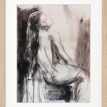 Modern Original drawing Sketch Mixed media Wall art Nude woman Figurative Graphic art Modern artwork Fine art Charcoal Home decor Female