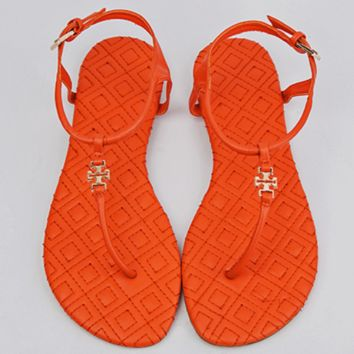 Tory Burch 2018 summer new style toe pinch flat bottom simple sandals F0714-1 orange