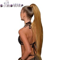 24'' Long Straight Synthetic Ponytail Wrap Around Clip In Ponytail Hair Extensions Heat Resistant Hair Tail