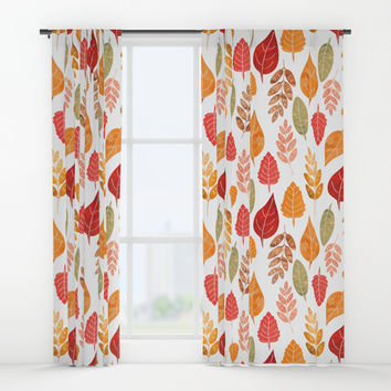 Painted Autumn Leaves Pattern Window Curtains by Tanyadraws