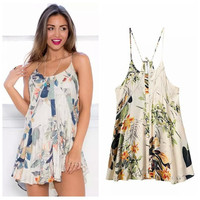 Summer Lace Backless Print Spaghetti Strap Dress One Piece Dress [4920240452]