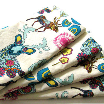 Cloth Napkins - Sets of 4 - Teal Cream Pink Yellow Moose Deer Antlers Trees Woodland - Dinner, Table, Everyday, Wedding