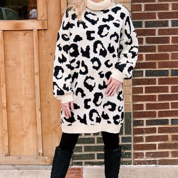 Oversized, Leopard Turtleneck Sweater Tunic {Ivory Mix}