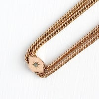 Antique 10k Rose Gold Filled Diamond & Star Incised Charm Necklace - Vintage Victorian Fob Pocket Watch Chain Layered Jewelry