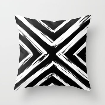 Minimalistic Black and White Paint Brush Triangle Diamond Pattern Throw Pillow by AEJ Design