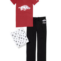 University of Arkansas V-neck Tee & Boyfriend Pant Gift Set - PINK - Victoria's Secret