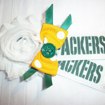 Green Bay Packers NFL Football Headband, Elastic Headband, Pre -Teen to Adult Sizes Only, Hand Made