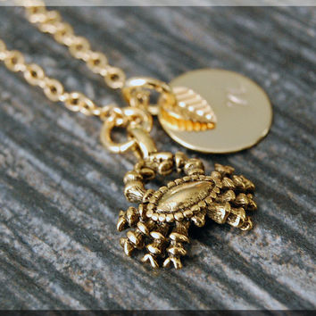 Gold Cancer Zodiac Charm Necklace, Initial Charm Necklace, Personalized, Zodiac Horoscope Sign, Crab Pendant, Zodiac Cancer Jewelry
