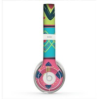 The Vector Sketched Yellow-Teal-Pink Aztec Pattern Skin for the Beats by Dre Solo 2 Headphones