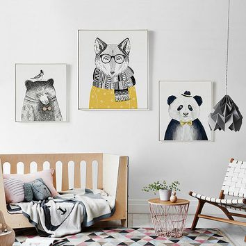 Cartoon Animals Canvas Painting Minimalist Nordic Kawaii Poster Print Nursery Wall Art Pictures Kids Room Home Decor Unframed
