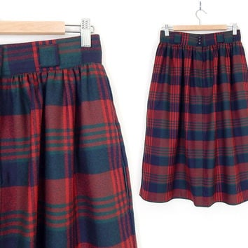 Vintage 80s High Waisted Red Plaid Skirt - Size 8 - Womens Wool Tartan Gathered Waist Pleated Baggy Midi Skirt - 28 Waist