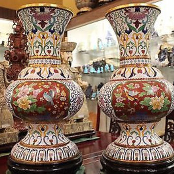 Beautiful Pair of White Cloisonne Vases Floral Medallion Style Motif w Stand 22""