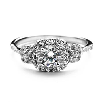 2.3 Carat 3 Stone Simulated Diamond Ring in Sterling Silver