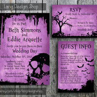 Halloween Wedding Invitation Suite with Skull and Bats - Printable Wedding Invitation, RSVP and Guest Information Card