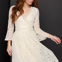 Lace to Meet You Cream Lace Dress