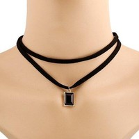 Retro Style Double-Layered Rectangle Artificial Gem Choker Necklace For Women - Black
