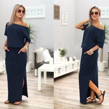 One Shoulder Side Open Pockets Loose Long Dress