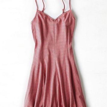 AEO Women's Striped Knit Fit & Flare Dress (Coral)