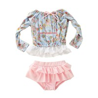 Baby Girl Three Piece Swimming Suits Fresh Korean Style Small Floral Print Long Sleeve Swimwear Beach Wear