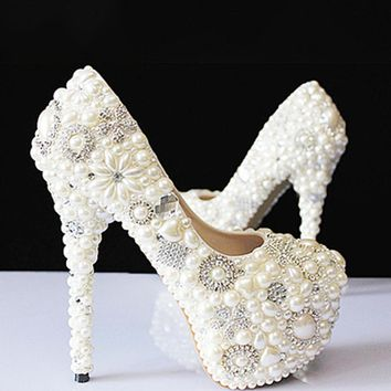 Spring summer autumn winter new crystal pearls white wedding bride pumps diamond handmade female super high heels women shoes